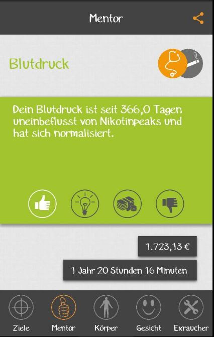 Nichtraucher App - Bild einer App für das Handy