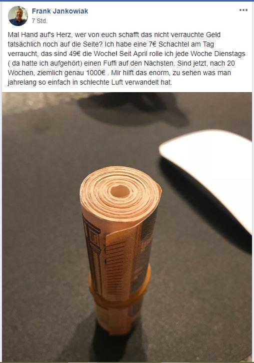 Raucherentwöhnung Geld sparen - ein kurzer Beitrag auf Facebook